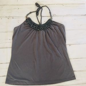 L8ter Gray Beaded Halter Top Size Large
